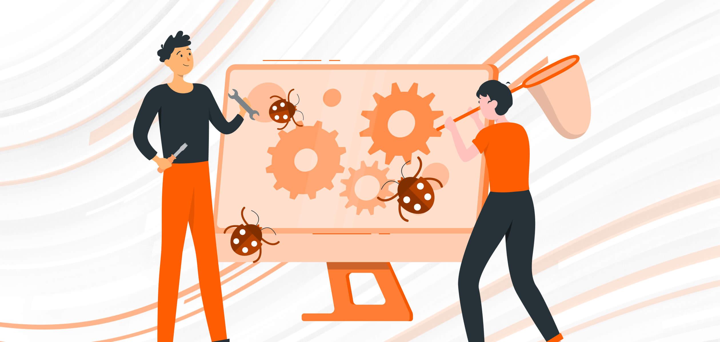 QA engineers fixing bugs in desktop application