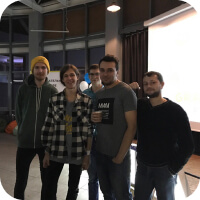 Development team at React conference