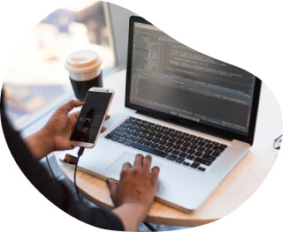 Front-end developer review the build for a mobile app