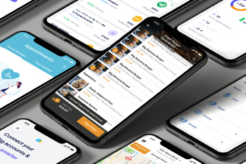 Mobile devices with app design samples