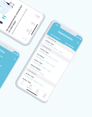 Doctor appointments listing on the mobile user interface