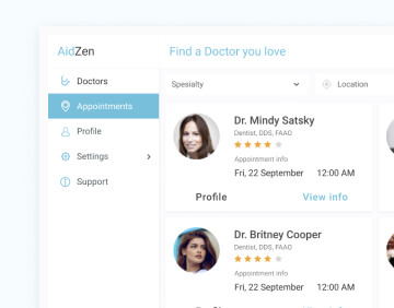 List of doctors profiles with ratings