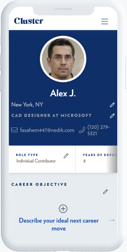 User account interface with CV for cad designer at Microsoft