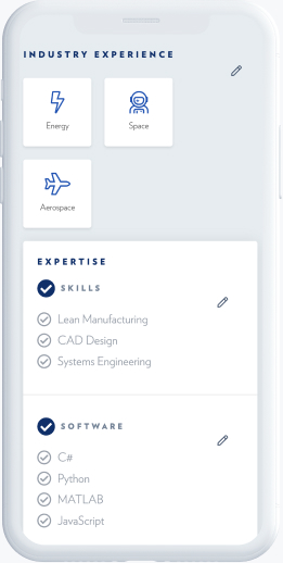 List of industries and multi select radio button UI