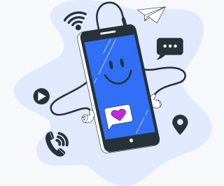 Mobile phone surrounded by icons