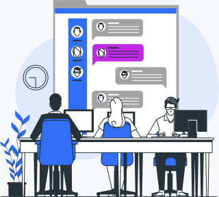 Support team deals with customer inquiries in online chat