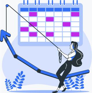 A rising arrow next to a calendar and a sales person