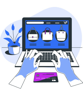 Online shopping on laptop with payment by credit card