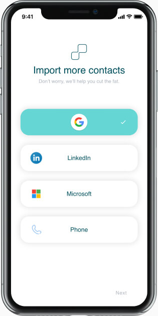 Business contacts with last activity on mobile device