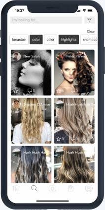 Mobile feed with posts of women's hair styles