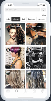 White mobile device with a search result for hairstyles