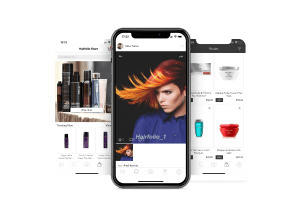 Mobile app screens with hairstyle and hair products