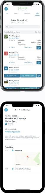 Mobile devices with notifications about future work shift, status, and results