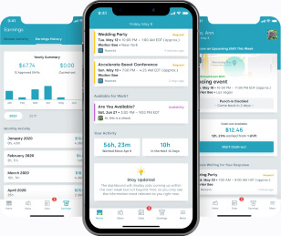 Mobile interface for hospitality sector worker app