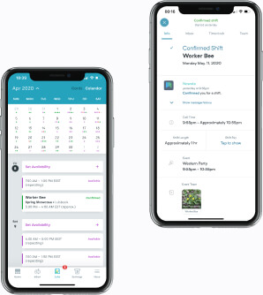 Mobile UI for calendar with upcoming worker shifts