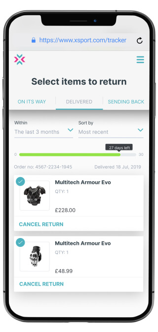 B2B product for tracking returns from online store