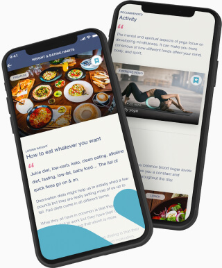 Recommended articles on eating habits inside a health app