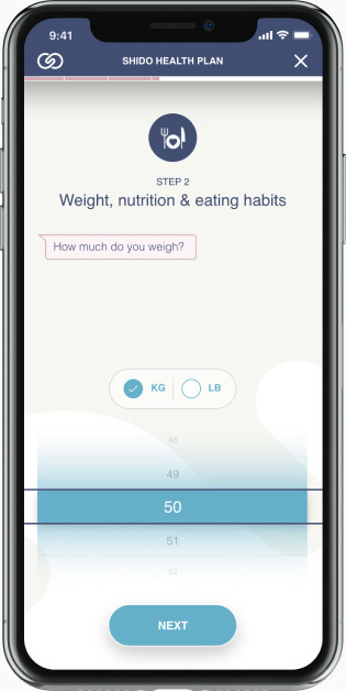 Mobile health application with custom pickers