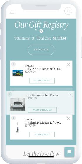 Design for a web gift registry