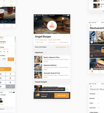 Mobile user interface for food delivery app