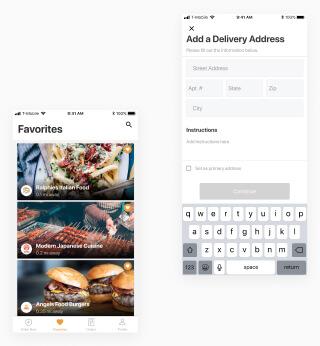 Food delivery address form in mobile app