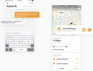 Mobile in-app chat and order delivery status