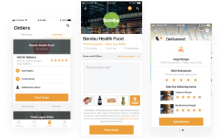 Design samples and screens implementation for food delivery app