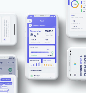 Building mobile user interface for earnings dashboard
