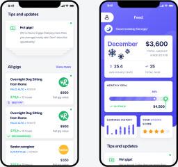 Dashboard card based design for mobile app