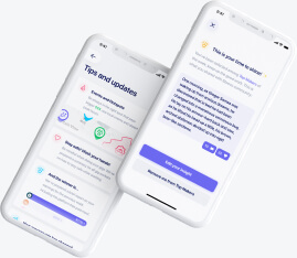 Cards with tips and updates mobile design