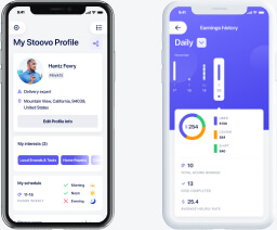 Mobile dashboard with earnings statistics by day